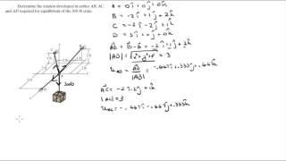 Het bepalen van de spanning ontwikkeld in kabels AB, AC en AD