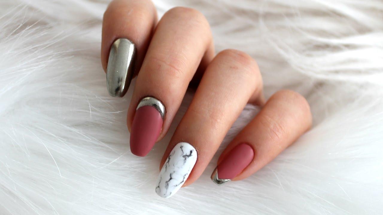 Marble Nails Mirror Effect Marmurowe Paznokcie Efekt