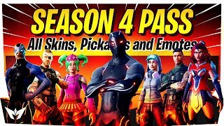 ALL NEW FORTNITE SEASON 4 BATTLE PASS REWARDS! - All New Skins, Pickaxes, Gliders & Emotes!