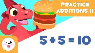 Addition exercises for kİds - Learn to add with Dino with burgers - Mathematics for kids