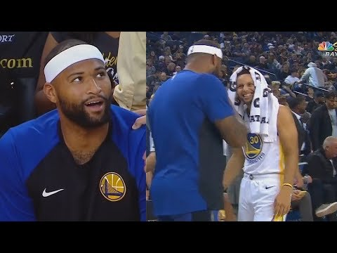 DeMarcus Cousins' First Warriors Appearance! Stephen Curry and Klay Thompson Have 3 Point Contest