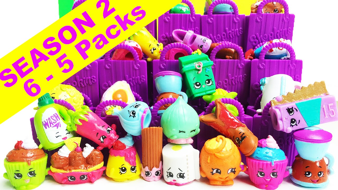 Shopkins season 2 5 packs 6 shopkins 5 packs unboxing youtube