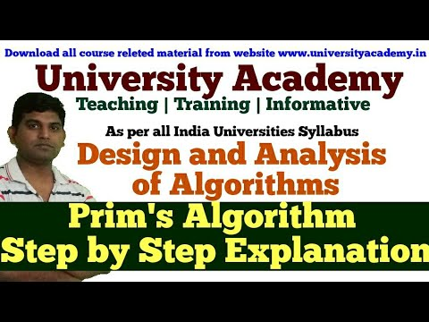 DAA68: Minimum Spanning Tree Prim's Algorithm Pseudocod|Prims Algorithm Step By Step Solved