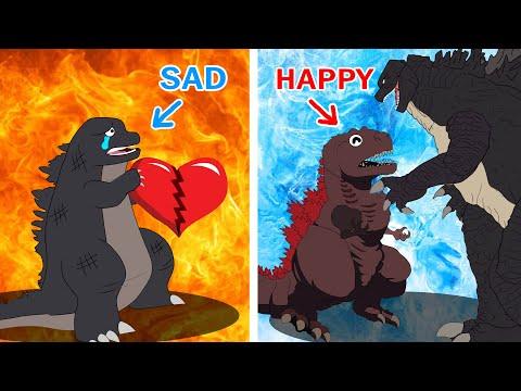 POOR BABY GODZILLA LIFE #4 : Happy Baby vs Sad Baby   So Sad But Happy Ending Godzilla Animation