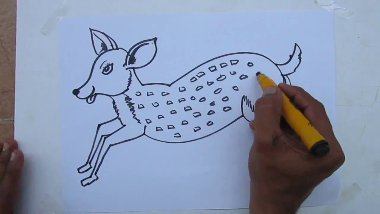 How To Draw Easy Cartoon Deer By Praveen D L Youtube