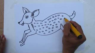 How To Draw EASY Cartoon Deer By Praveen D L