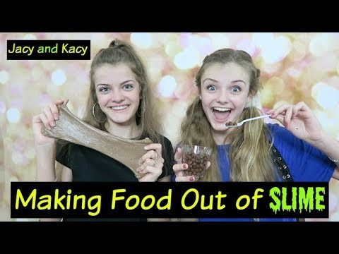 Making Food Out of Slime Challenge ~ Jacy and Kacy