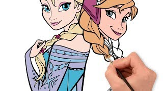 Coloring Elsa and Anna in Prozen