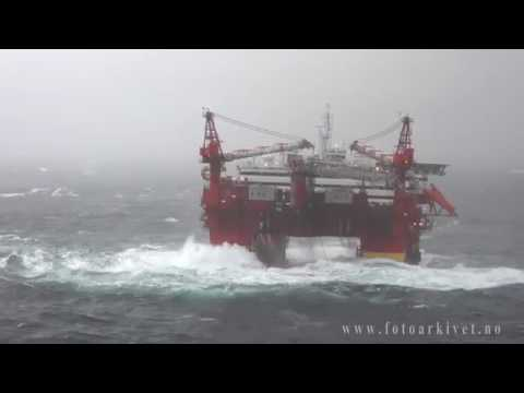 Offshore platform in Storm in the North Sea