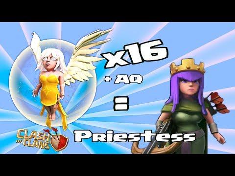 Clash of clans -  16 Healers x Lvl 27 AQ = Priestess ( Mass Healer Attack )