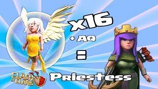 clash of clans 16 healers x lvl 27 aq priestess mass healer attack