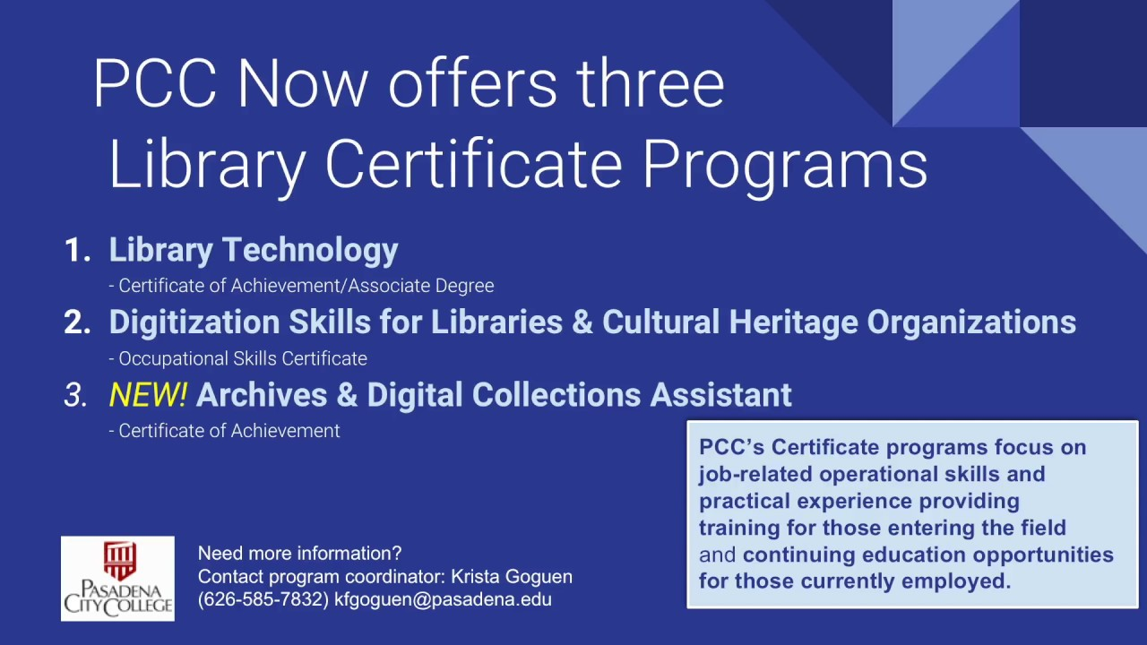 Pccs Library And Archives Certificate Programs Youtube