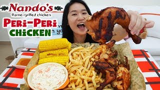 NANDO'S CHICKEN FEAST! Peri-Peri Chicken, Fries, Coleslaw & Corn on the Cob | Eating Show Mukbang