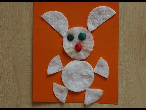 Заяц. Аппликации для детей 2-3-4 лет. Поделки из ватных дисков в садик.