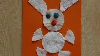 Заяц. Аппликации из цветного картона для детей 2 - 3 лет. Поделки из ватных дисков.(В этом видео смотрите как сделать поделку из ватных дисков своими руками. Чтобы изготовить аппликацию для..., 2015-10-08T10:04:13.000Z)