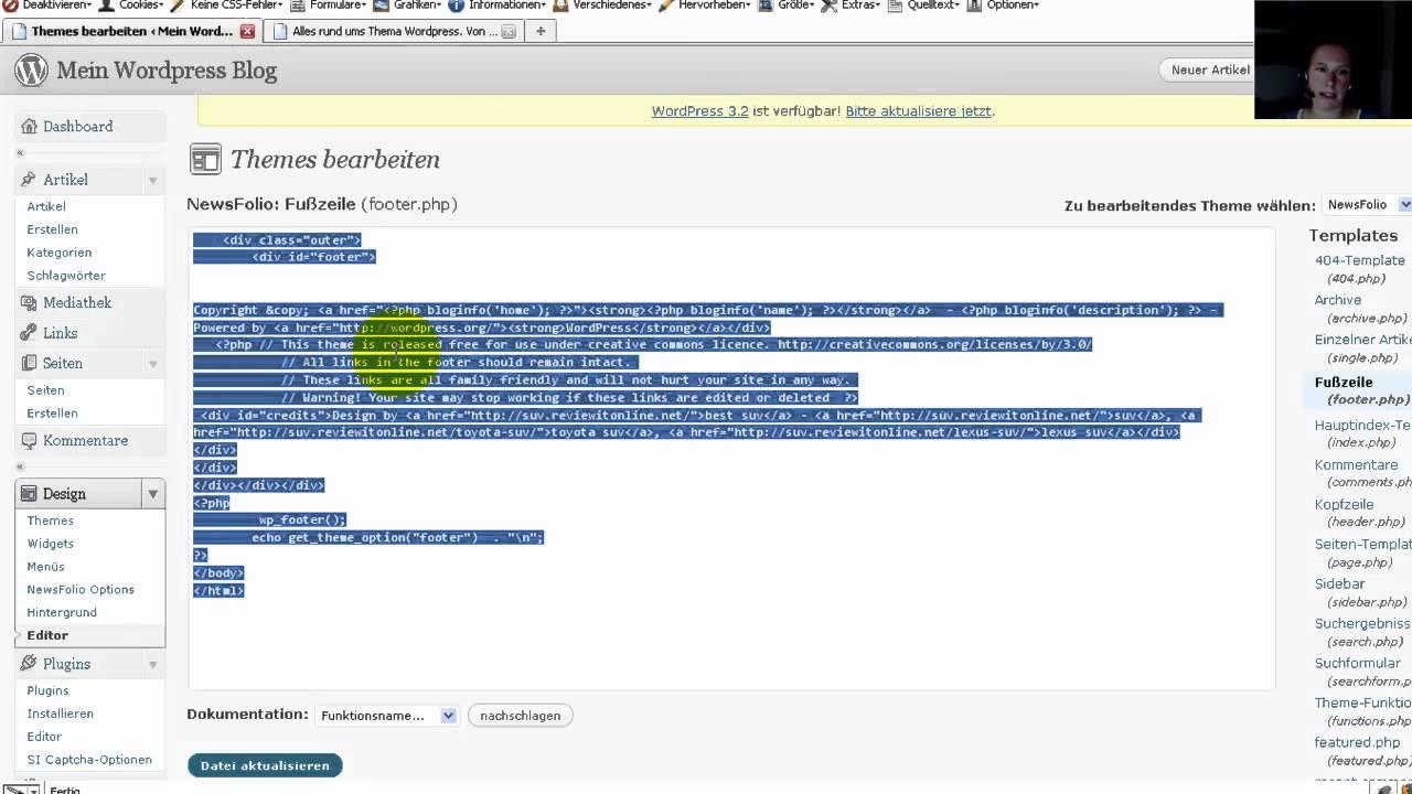 Wordpress Tutorial Deutsch - Impressum Link im Footer ...
