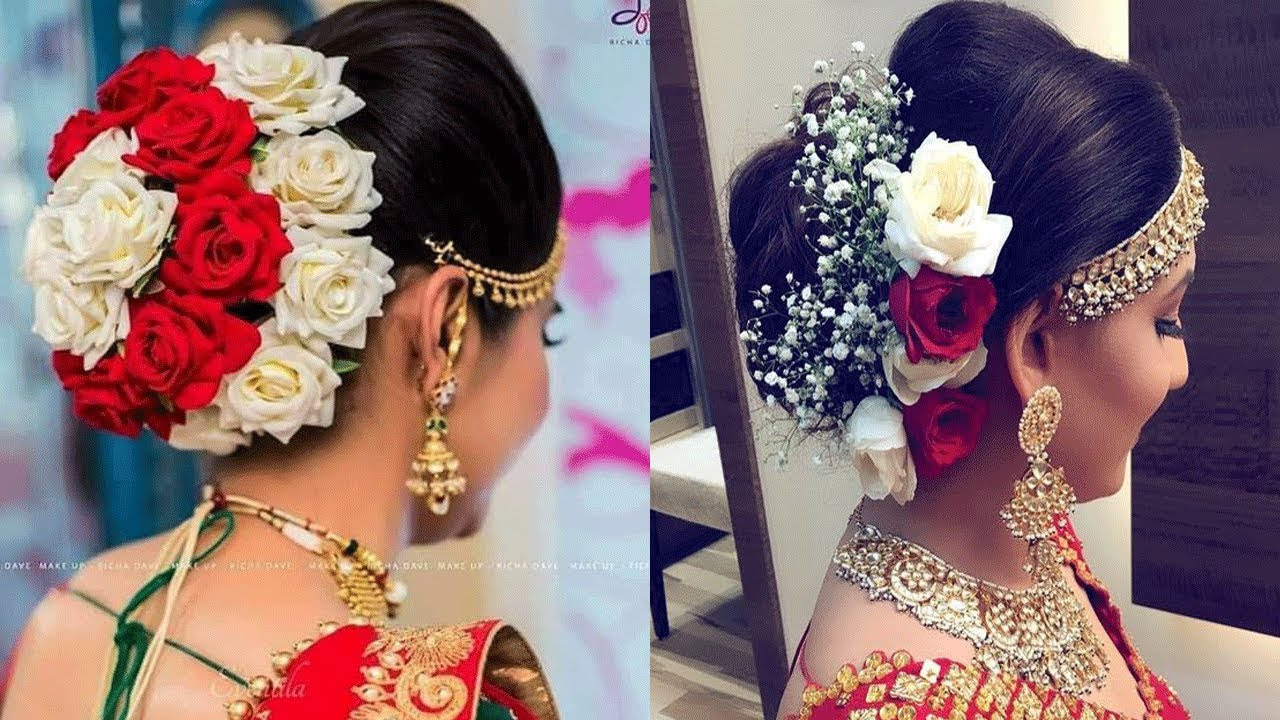 Bridal Hair Bun With Flowers ||Bridal Juda Hairstyles with Rose Flower/Latest Bridal Bun ...