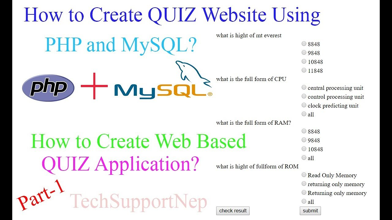 How to Create Quiz Website using PHP and MySQL?[With Source