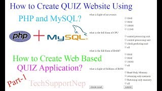 How to Create Quiz Website using PHP and MySQL?[Part-1] [With Source Code]
