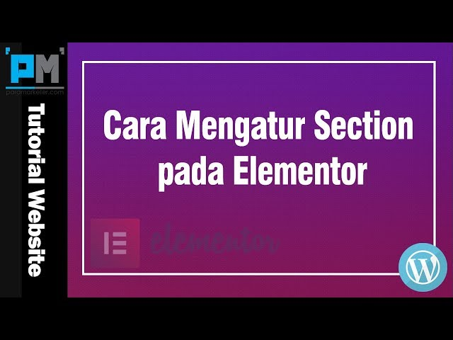 Cara Mengatur Section pada Elementor #20