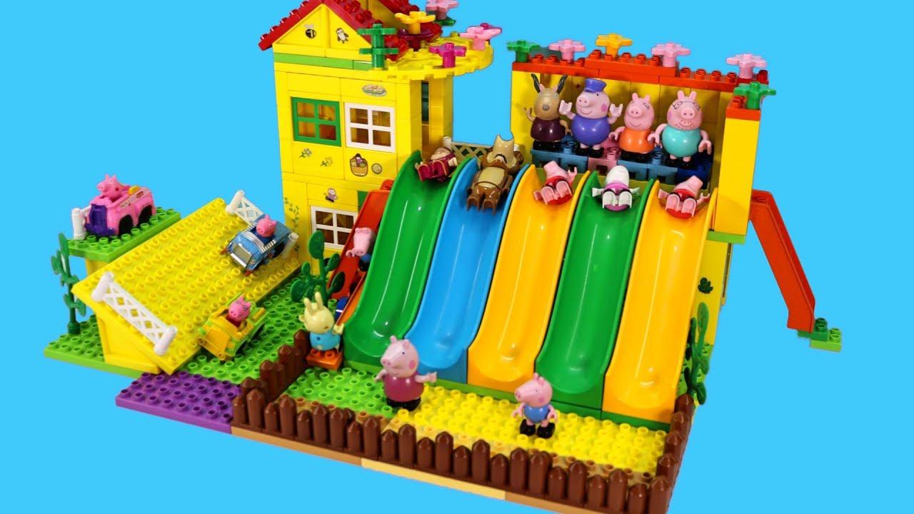 Lego Full House Peppa Pig Blocks Mega House Construction Lego Sets With Masha And