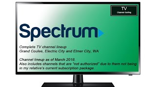 TV Channel Lineup: Charter Spectrum, Grand Coulee, WA (March 2018)