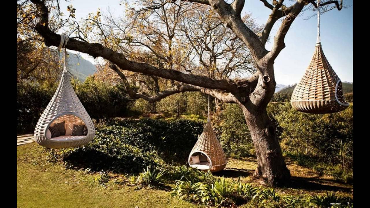Dise o de jardines con sillones colgantes youtube for Sillas colgantes para jardin