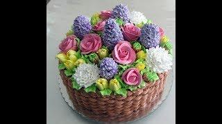 как сделать торт корзина с цветами из крема