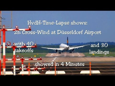 40 Take offs and 30 Landings in 4 Minutes at DUS Airport with Crosswind
