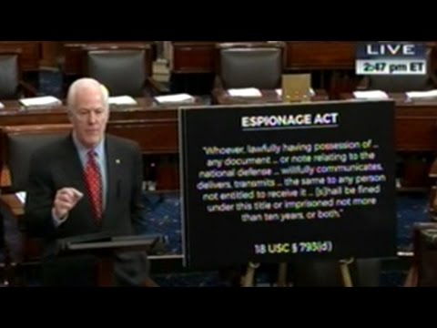 Senator Cornyn Sounds Like He Wants Hillary Clinton Charged Under The Espionage Act!