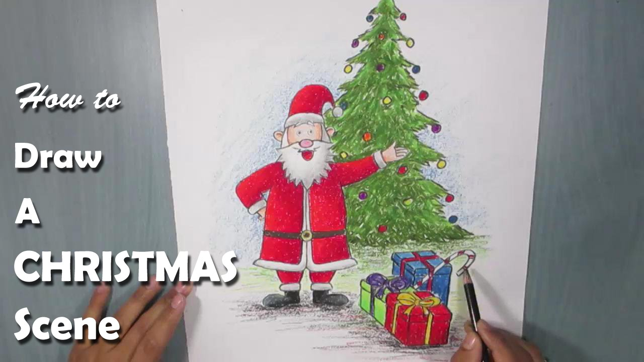 How to Draw a Christmas Scene with Oil Pastel - YouTube