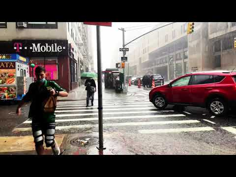 ⁴ᴷ⁶⁰ Walking in Heavy Rainstorm in NYC | Walking Tropical Storm Fay