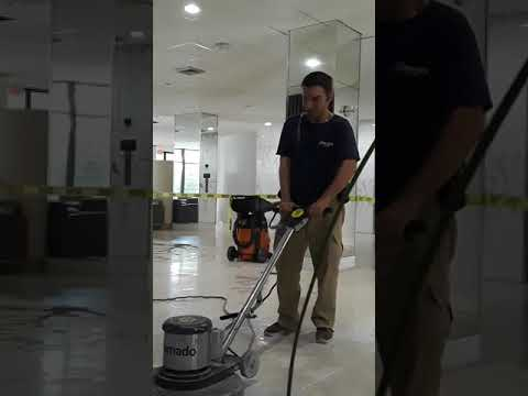 Cleaning and Polishing a terrazzo Floor with Ajax part 1