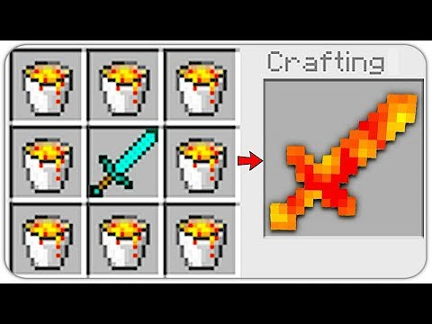 HOW TO CRAFT a LAVA SWORD? SECRET RECIPE *OVERPOWERED* (Minecraft 1.13 Crafting Recipe)