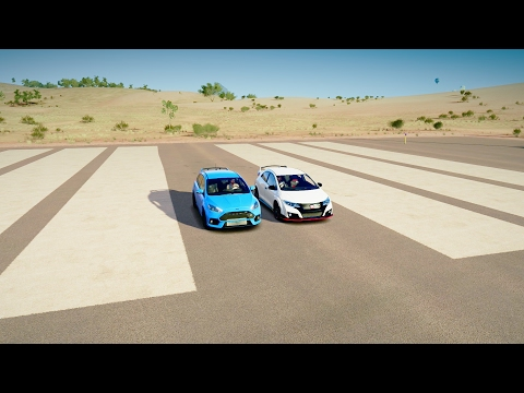 2017 Ford FOCUS RS vs 2016 Honda CIVIC Type R - DRAG RACE! Forza Horizon 3