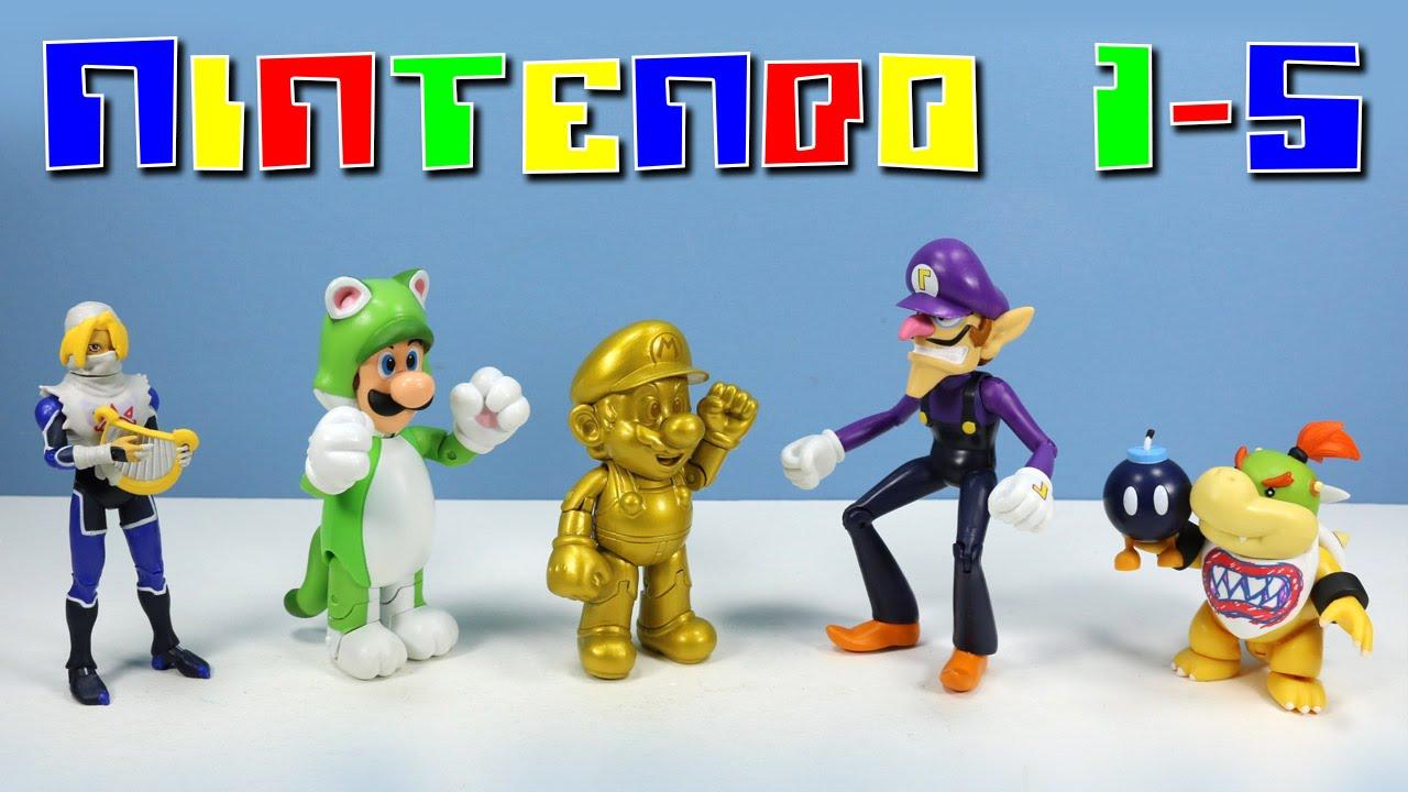 World Of Nintendo Action Figures Series 1 5 Gold Mario Cat Luigi Bowser Jr