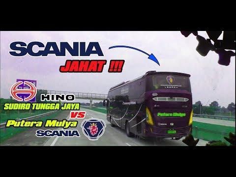 """ADU GENGSI SCANIA DAN HINO DI TREK LURUS TOL CIPALI By Sudiro Tungga Jaya """"MEKKA"""""""