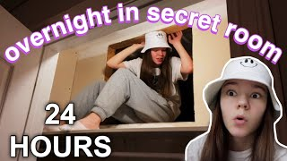 24 hours in a tiny secret room in my closet | overnight challenge