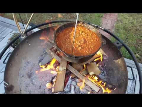 Cooking Cowboy Chili Over An Open Fire
