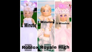 1 Minute Vs 3 Minutes Vs 5 Minutes Wedding Dress Challenge - Roblox Royale High