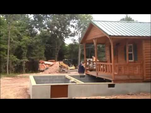 Lincoln 14x40 cabin placement on foundation virginia youtube for Foundation tiny house builders