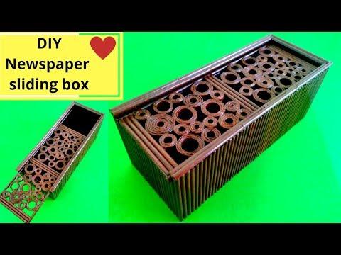 DIY Sliding box from news paper || News paper recycling idea || Iris Craft Corner 33