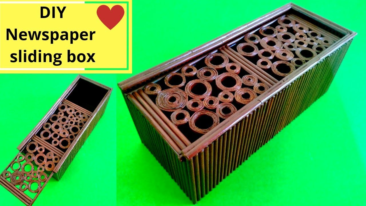 DIY Sliding box from news paper || News paper recycling ...