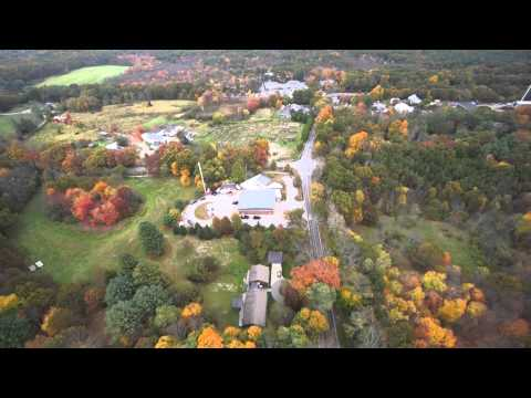 Lincoln, Massachusetts from the air (in fall foliage season)