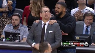 Drake Calmed Down Nick Nurse After A Fred VanVleet Bank Three-Pointer