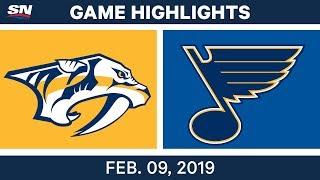 NHL Highlights   Predators vs. Blues - Feb. 9, 2019