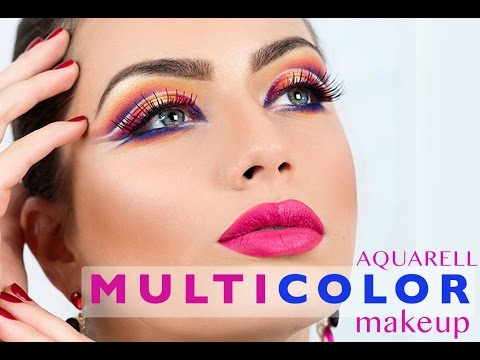 TUTORIAL | 3D MULTICOLOUR MAKEUP | AQUARELL TECHNIQUE | by Emese Backai freelance makeup trainer