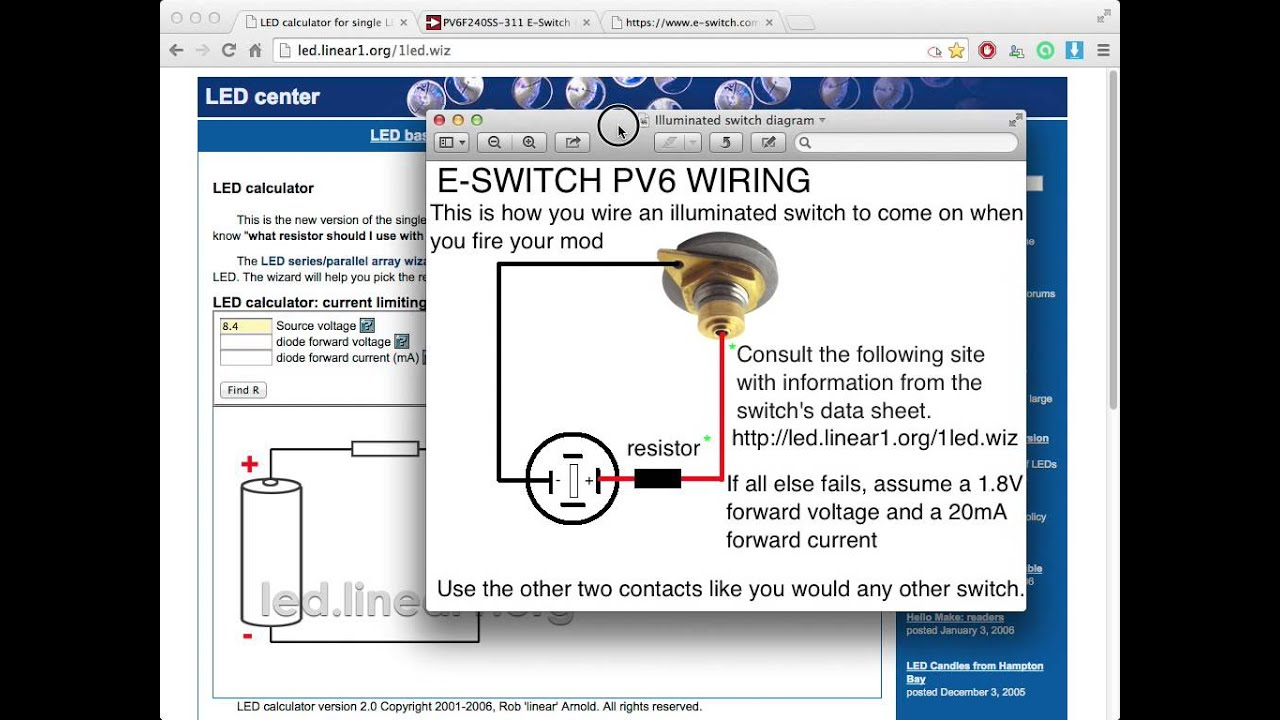 How To Connect An Illuminated Switch A Diy E Cig Mod Youtube With Led Wiring Diagram