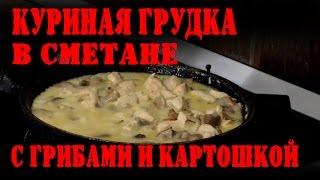 Куриная грудка  в сметане с грибами и картошкой