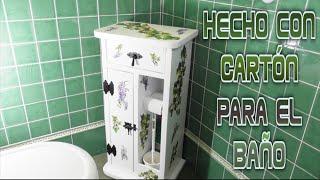 Manualidades, Diy, Mueble hecho con Cartón para el cuarto de Baño